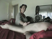 A dark haired wife empties her hubby's sausage